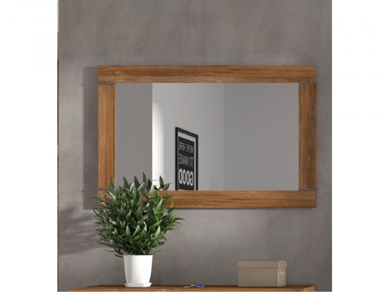 Modern Medium Oak Effect Rectangular Frame Wall Hanging Mirror 101x66cm - Gent (M244-LUS/7/10-DAST)
