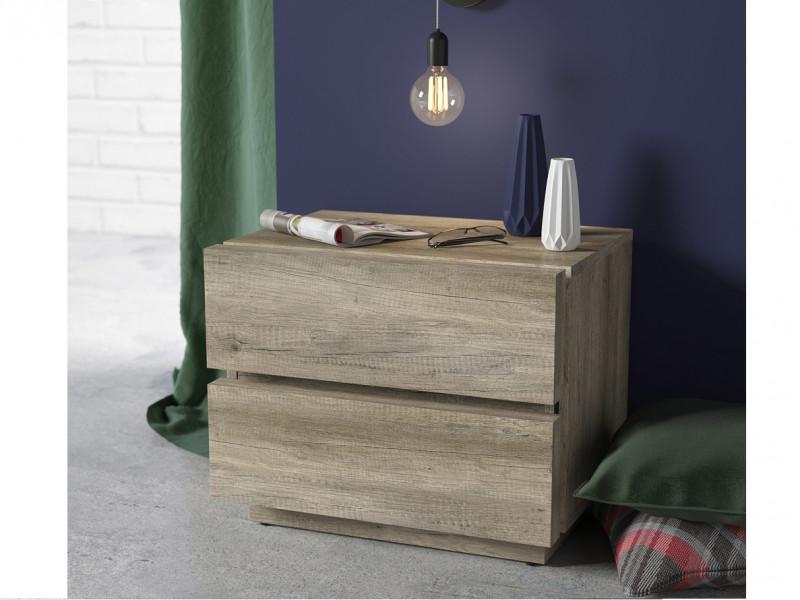 Modern 2-Drawer Bedside Nightstand Table Cabinet Storage Unit Oak - Anticca (S317-KOM2S-DAMO-KPL01)