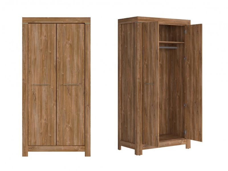 Modern Bedroom Double 2-Door Wardrobe with Shelf and Rail Oak - Gent (S228-SZF2D/20/10-DAST-KPL01)