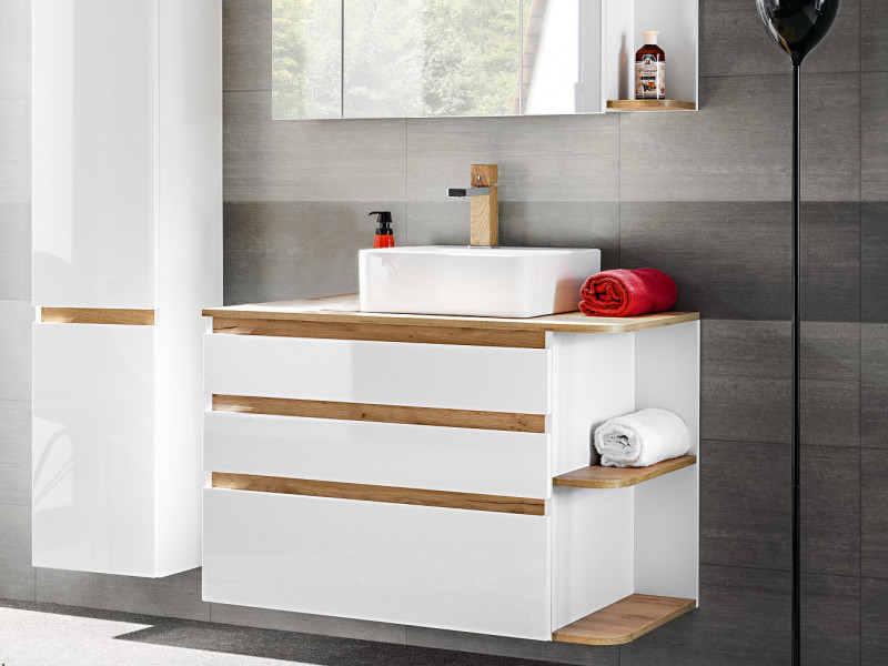 Modern Vanity Wall Bathroom Cabinet Unit Drawers Countertop Sink White/White Gloss Oak - Platinum (PLATINUM_820_WHITE+CFP-6289_DP)