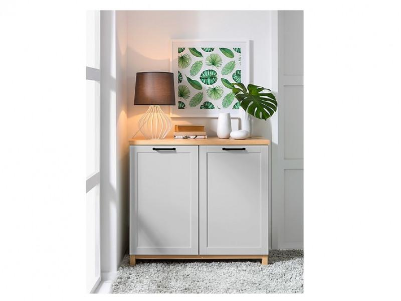 Scandinavian Sideboard Small Cabinet in Grey & Oak - Haga (KOM2D)
