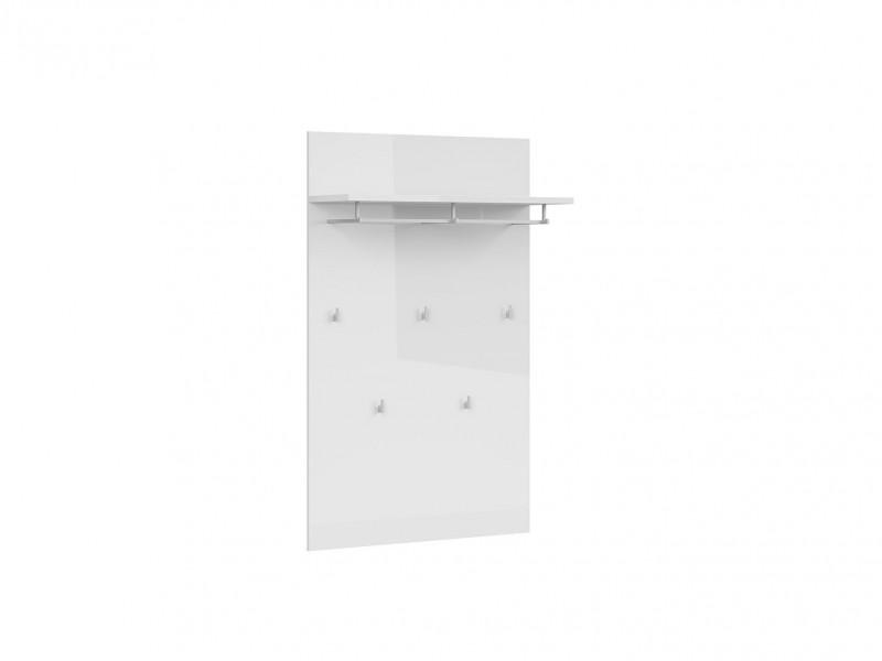 Wall Mounted Panel in White High Gloss with Shelf, Hanging Rail and 5 Hooks - Azteca Trio (M246-PAN/14/9-BI/BIP-KPL01)