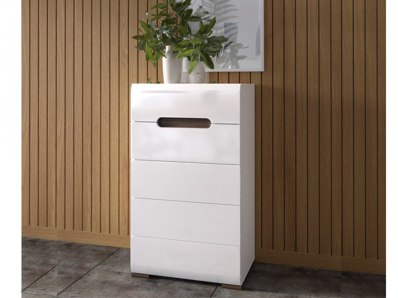 Modern Tall Boy Chest Of Drawers White High Gloss Or Oak