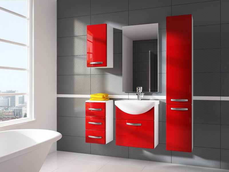 Modern Bathroom Furniture Set Red High Gloss Wall Hung Vanity Units with Sink 550mm - Coral (Coral SET KALIA Red)