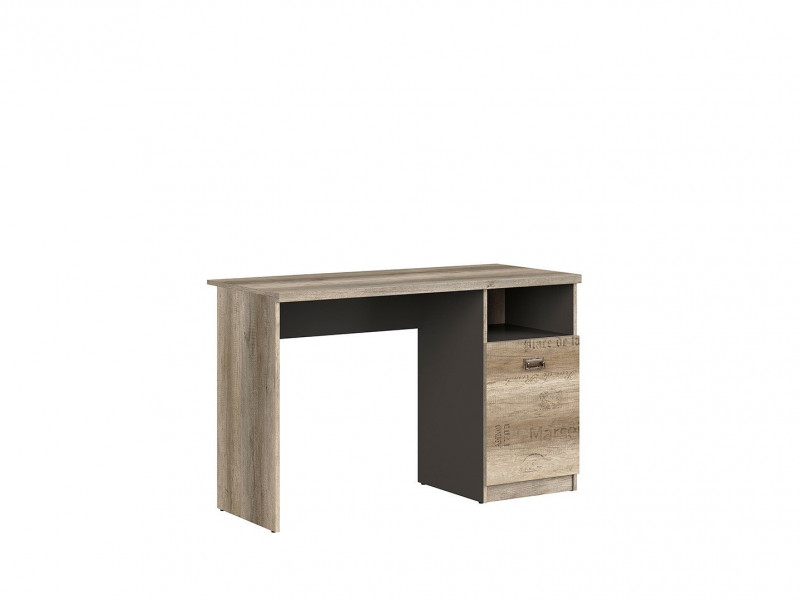 Urban Oak & Grey Computer Desk for Home Office Study 120cm Door and Open Compartment - Melton (M243-BIU1D-DAMO/SZW/DAMON-KPL01)