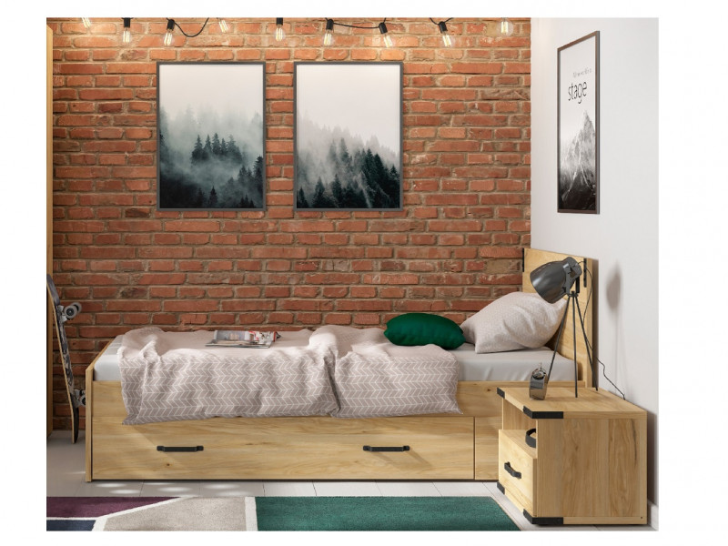 Modern Industrial Storage Bed Set: Euro Single Bed Frame with Solid Wood Slats and Underbed Drawer Belarus Ash - Lara (S463-LARA-STORAGE-BED-SET-KPL01)