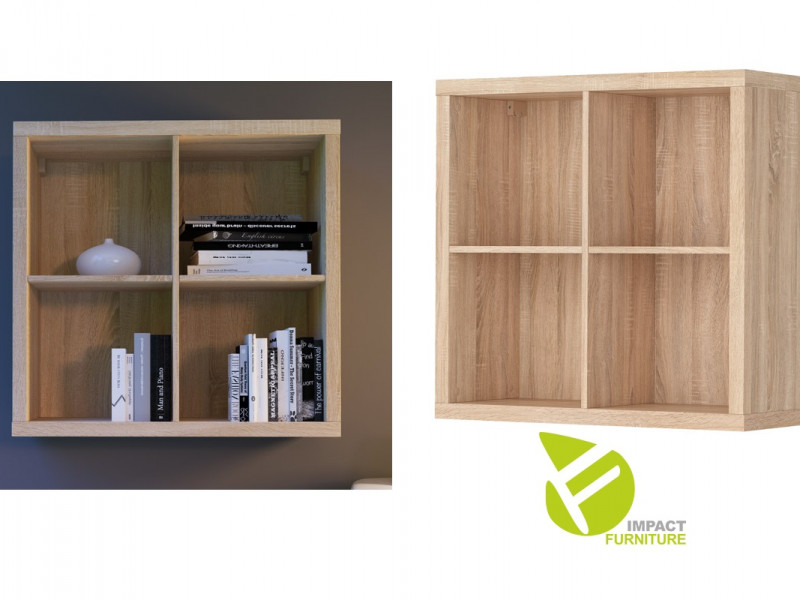 Modern 4 Cube Storage Unit Wall Mounted Shelf Cabinet Display for Hallway Bedroom Sonoma Oak Finish - Nepo (S435-SFW/8/8-DSO-KPL01)