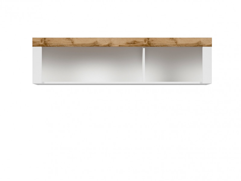 Scandinavian Wall Mounted Display Cabinet Shelf Bookshelf Storage Panel White/Oak - Holten (S397-SFW/156-BI/DWO)