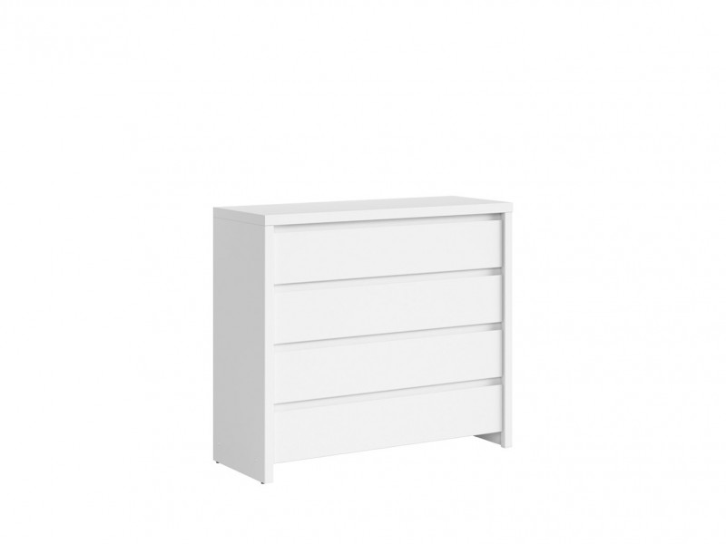 Modern White Matt Chest of Drawers Wide Four Drawer Storage Unit - Kaspian (S128-KOM4S-BI/BIM-KPL01)