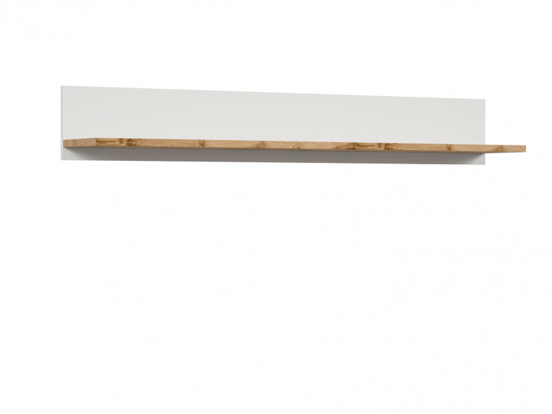 Scandinavian Wall Mounted Storage Floating Shelf Unit 156cm Panel White/Oak - Holten (S397-POL/156-BI/DWO)