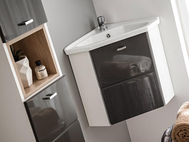 Grey Gloss Vanity Cabinet Corner Wall Mounted Bathroom Unit with Ceramic Sink 40cm - Finka (FINKA_824_GREY+CFP-9068/CL3110)