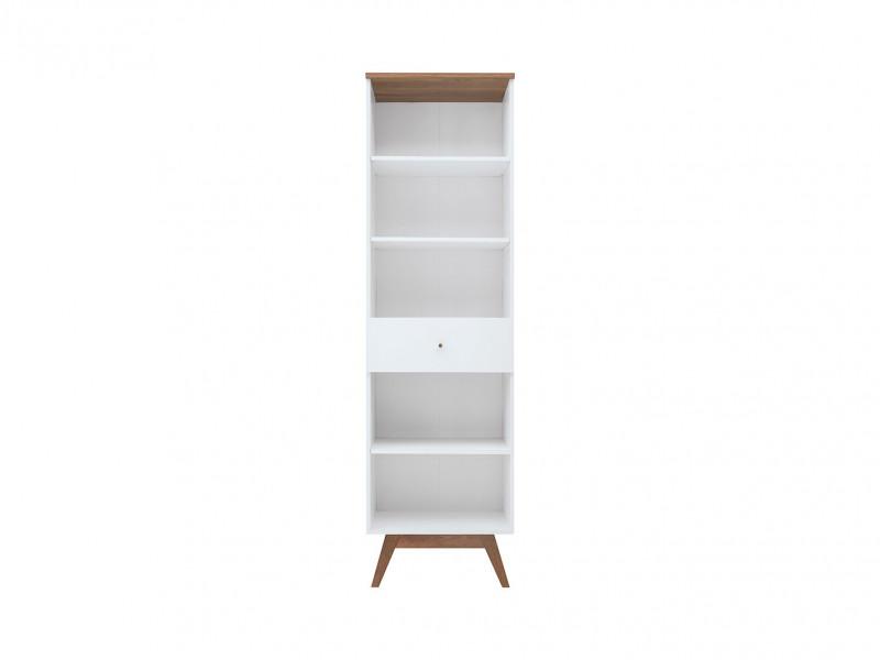 Scandi White Gloss/Walnut finish 1-Drawer Tall Living Room Display Storage Cabinet Bookcase Wooden Legs - Heda (S385-REG1S-BI/MSZ/BIP-KPL01)
