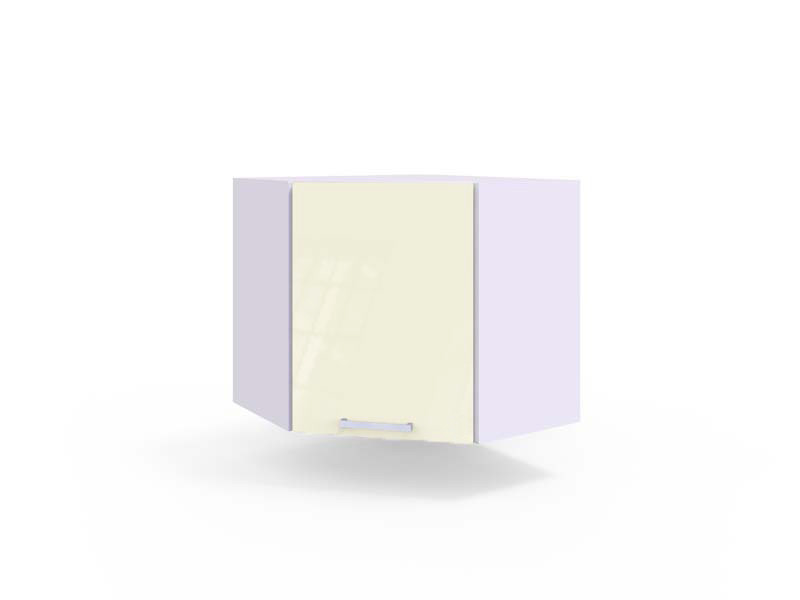 Free Standing White/Cream Gloss Kitchen Corner Cabinet Wall Unit 60cm - Modern Luxe (Luxe WR/58 PL Cream)