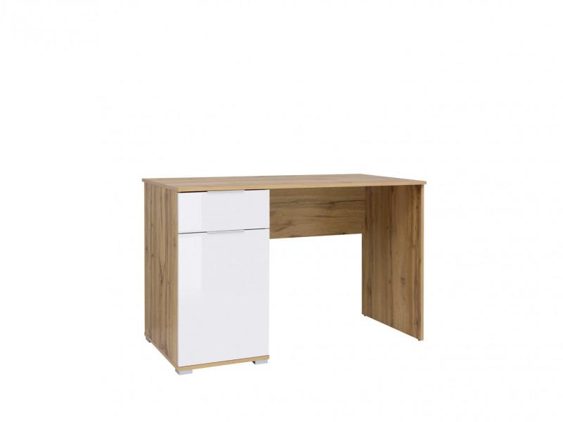 Modern White Gloss/Oak Computer Desk with Drawer for Home Office Study 120cm - Zele (S383-BIU/120-DWO/BIP-KPL01)