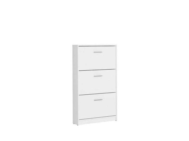 White Shoe Cabinet Slimline Compact Triple Door Shoe Storage Unit - Nepo (S435-SFB3K-BI-KPL01)