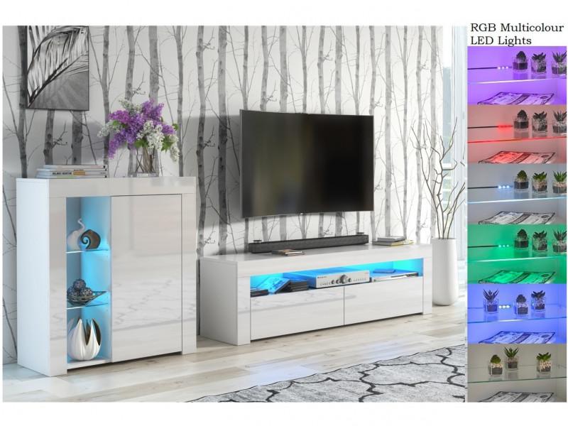 Modern White Gloss Glass Display Cabinet & TV Unit Media Stand with RGB Multicolour LED Lights - Lily (HOF-LILY-RTV+1D-BI/BIP-LED-RGB)
