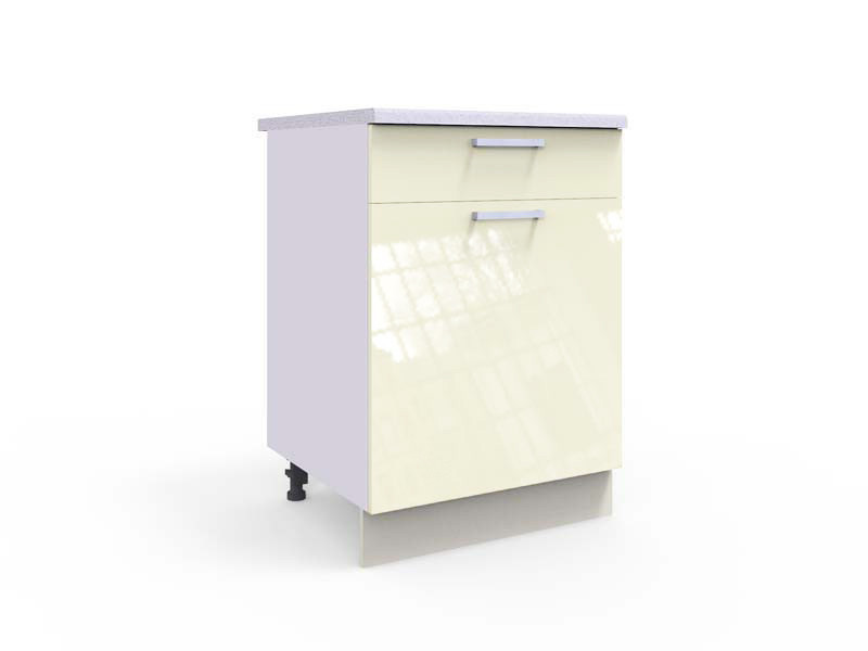 Free Standing White/Cream Gloss Kitchen Cabinet Base Unit 60cm - Modern Luxe (STO-MODERN_LUX-D60-S/1-P/L-VAN-KP01)