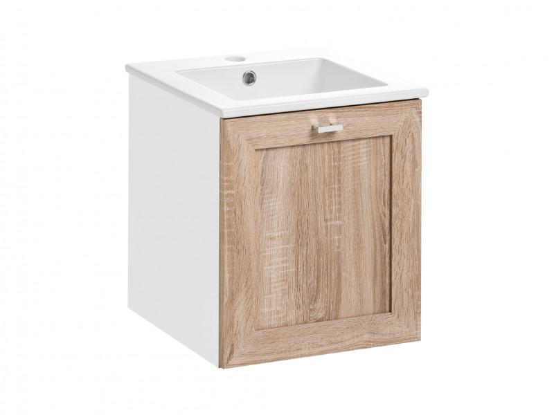 Modern Wall Hung Vanity Cabinet Storage Unit with Ceramic Sink Oak/White Matt - Finka (FINKA_821_SONOMA+CFP-9048B/8023-DP)