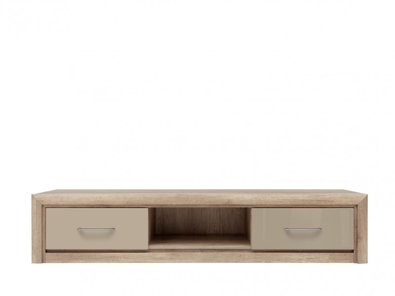Wide TV Cabinet Stand Unit with 2 Drawers in Beige Gloss and Oak finish - Koen 2 (RTV2S/163)
