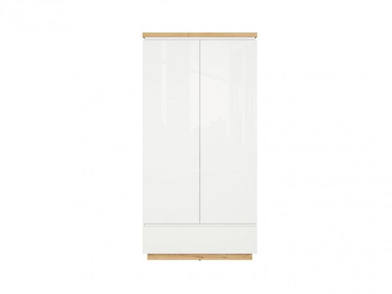 Modern White Gloss / Oak finish Double 2 Door Wardrobe with Soft Close Drawer - Erla (S426-SZF2D1S-BI / DMV / BIP)
