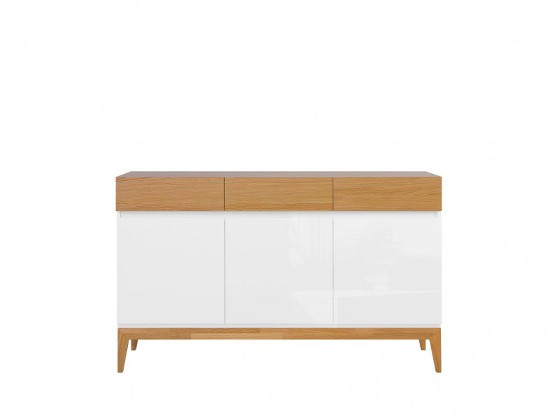 Scandinavian White Gloss & Oak Sideboard Cabinet Storage Drawer Dresser Unit on Wooden Legs - Kioto (S425-KOM3D3S-BI/BIP/DNA-KPL01)