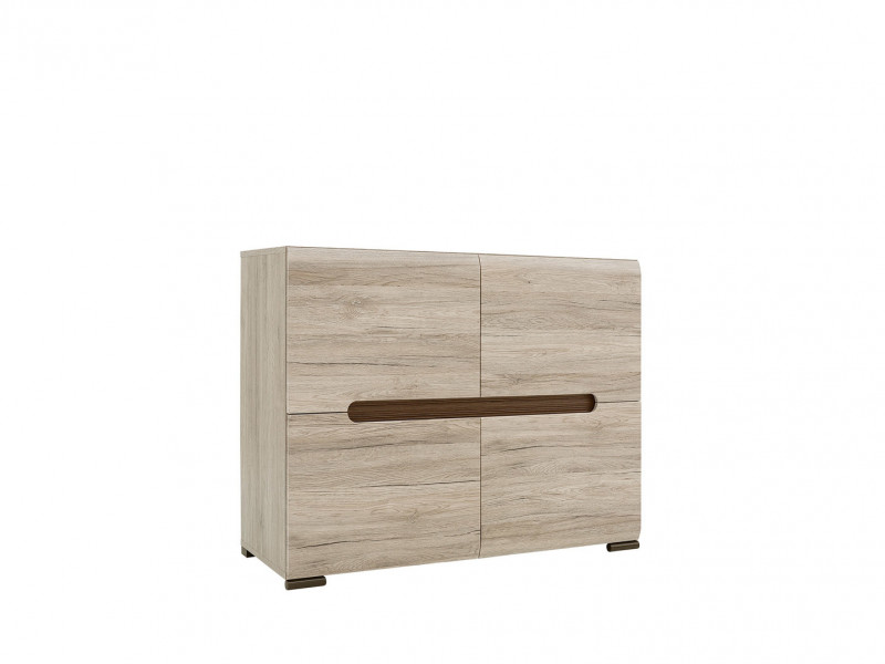 Square Small Contemporary Sideboard Cabinet Oak San Remo - Azteca (S205-REG4D/8/11-DSA/WEM)
