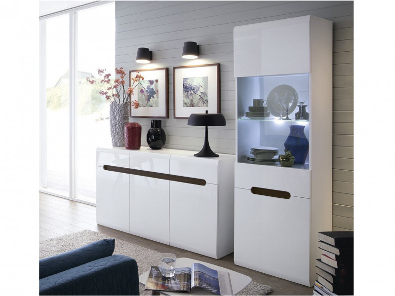 White Gloss Glass Tall Display Cabinet and Chest of Drawers Living Room Furniture Set with LED Lights - Azteca Trio (S504-REG1W1D/19/6-KOM3D3S/8/15-TRIO)