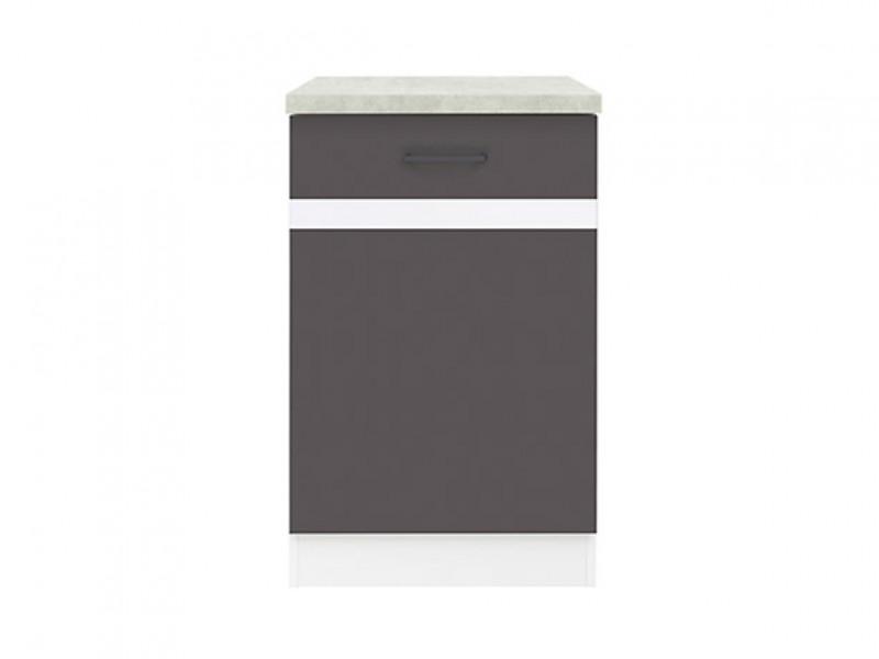 Modern Free Standing Kitchen Cabinet 500 Base Cupboard Unit 50cm Right Hand Grey/White Gloss - Junona (K24-D1D/50/82_P-BI/SZW/BNG-KPL01)