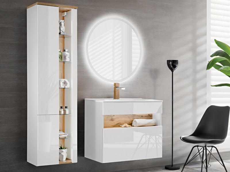 Modern White Gloss Bathroom Furniture Set Wall 80cm Vanity Ceramic Sink Tall Cabinet Unit LED Light - Bahama (BAHAMA_821_SET_WHITE)