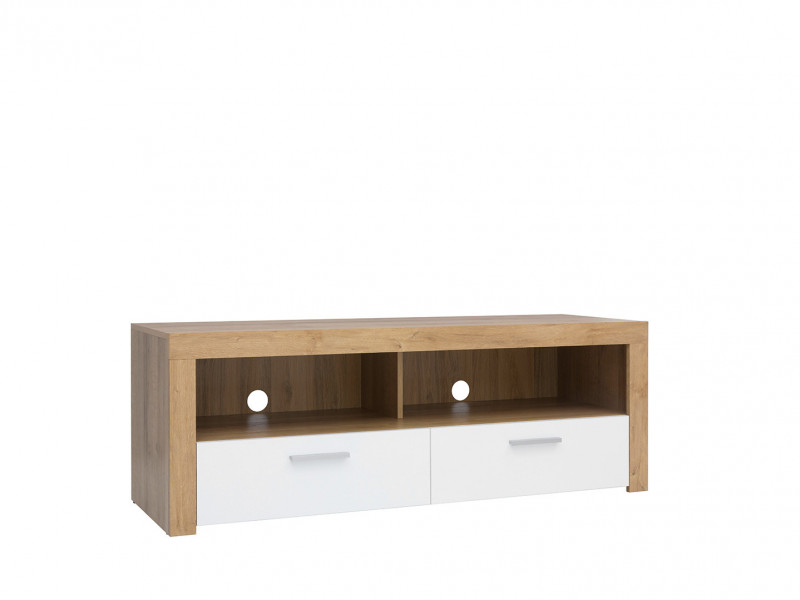 Modern Compact TV Cabinet Media Bench Drawer Stand Storage Unit Oak/White Gloss - Balder (S382-RTV2S-DRI/BIP-KPL01)