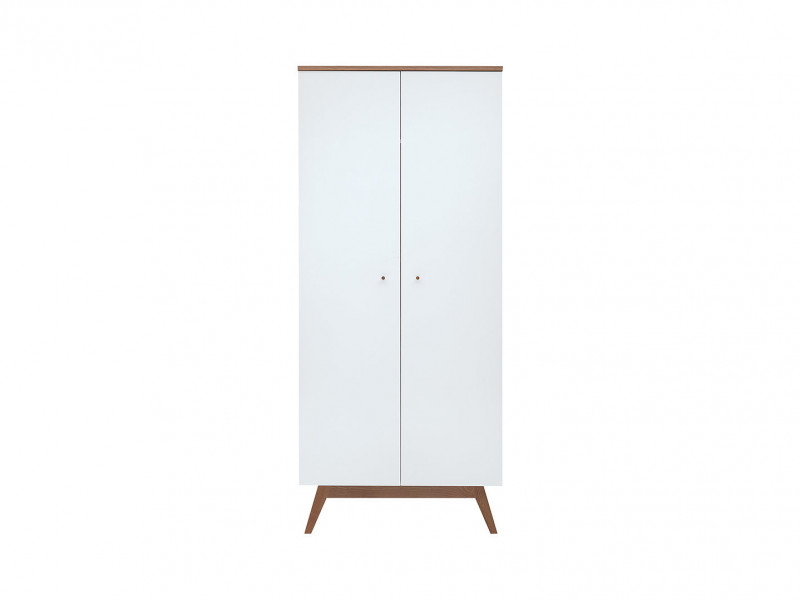 Scandi White Gloss/Walnut finish 2-Door Double Wardrobe Tall Storage Cabinet Unit Rail Shelf Wooden Legs - Heda (S385-SZF2D-BI/MSZ/BIP-KPL01)