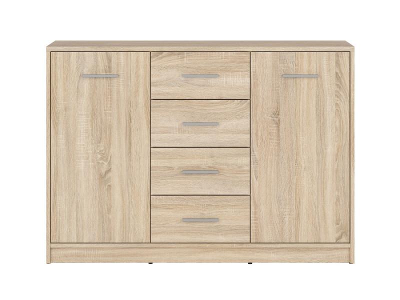 Sideboard Dresser Cabinet Modern Living Room Storage Drawers Unit in Sonoma Oak Effect Finish - Nepo (S435-KOM2D4S-DSO-KPL01)