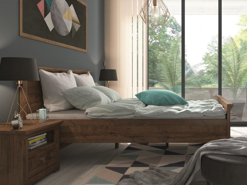 Classic King Size Bed Frame Bedroom Headboard Wooden Slats Dark Oak - Patras (S405-LOZ/160-DARL-KPL01+Wklad/160)