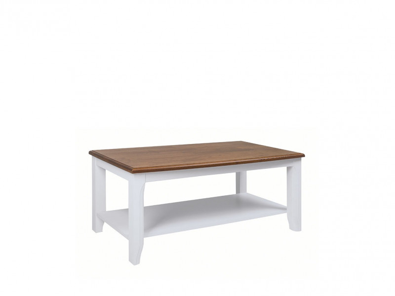 Classic Rectangle Wooden Living Room Coffee Table Shelf 110cm White / Acacia - Kalio (S423-LAW/110-ACZ/BI)