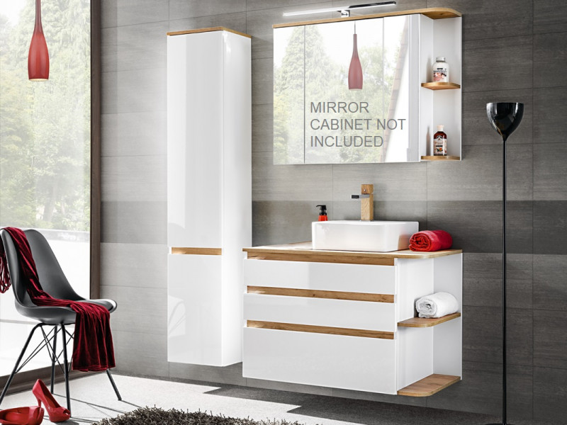 White Gloss & Oak Finish Bathroom Furniture Set: Tall Cabinet & Wall Vanity Unit with Countertop Sink - Platinum (PLATINUM_820_WHITE+CFP-6288_DP_800)