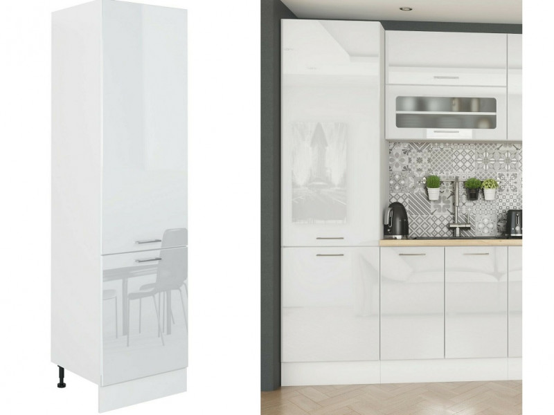 White High Gloss Tall Kitchen Larder Cabinet Pantry 600 Cupboard 2 Doors 60cm Unit - Rosi (STO-ROSI-D60-SL-P/L-BI/BIP-KP01	)