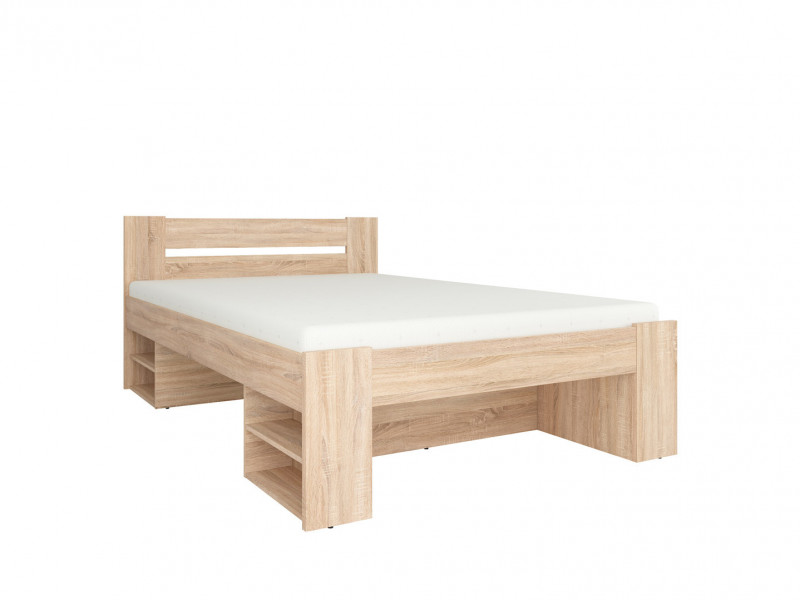 Storage Double Bed Frame in Sonoma Oak Finish with Wooden Slats- Nepo (S435-LOZ3S-DSO-KPL01)