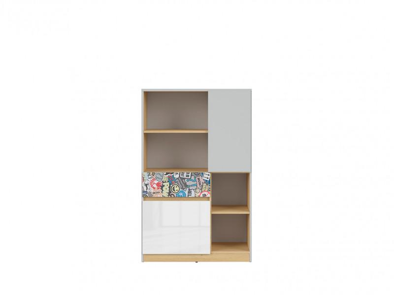 Modern Bookcase Storage Cabinet Shelving Drawer Unit Kids Bedroom Emoji Sticker White Gloss/Grey/Oak - Nandu (S441-KOM2D1S-JSZ/DP/BIP/SCR-KPL01)