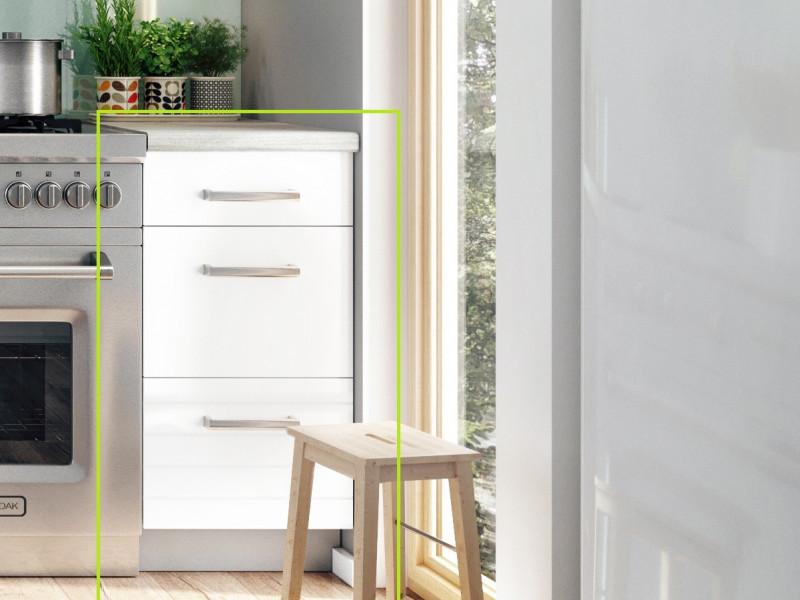 Free Standing White Light Grey Kitchen Drawers Cabinet Base Unit