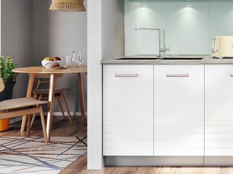 Free Standing White/Light Grey Kitchen Sink Cabinet Cupboard Unit 80cm - Paula (STO-PAULA-D80_ZL-GR/WHITE-KP01)