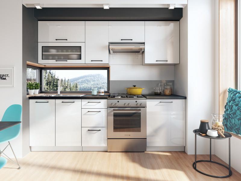 Scandinavian Style Kitchen White Gloss Cabinets Cupboards 7 Unit Diy Kitchen Set Roxi Sto Roxi Set 7units 2 4 Bi Bip