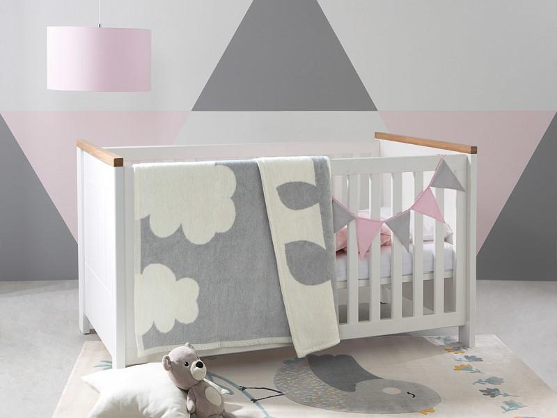 Modern Height Adjustable Baby Cot Bed Wooden Slats White/Oak - Dreviso Baby (S378-LOZ/140X70-BI/DWM-KPL01)