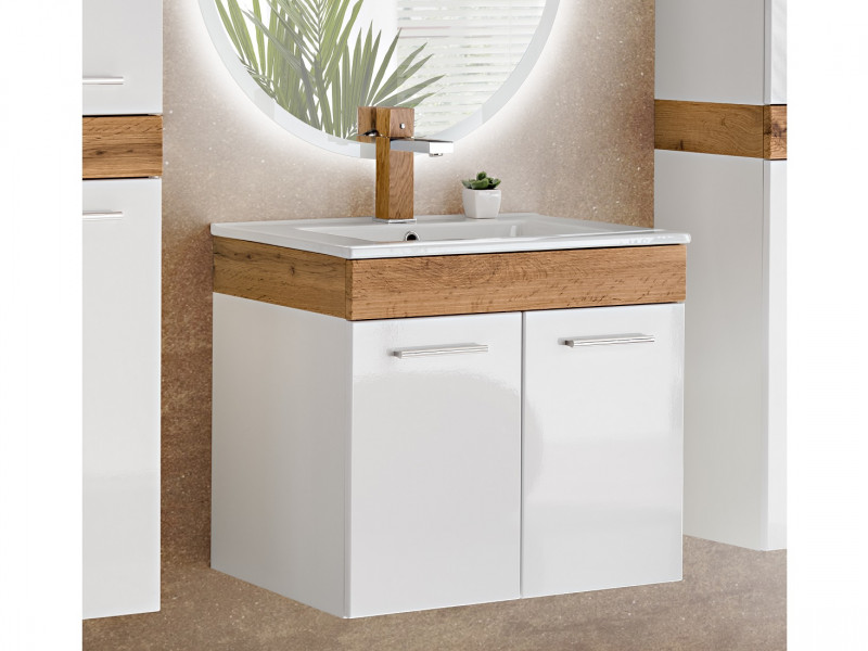 Modern 500mm Vanity Unit Wall Mounted Bathroom Cabinet White Gloss / Oak finish with Sink - Aria (ARIA_822+CFP-2050RB)