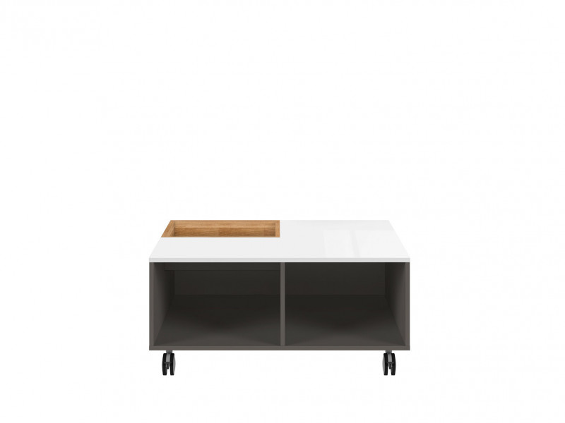 Coffee Table with Storage White Gloss and Oak - Graphic (LAW/90)