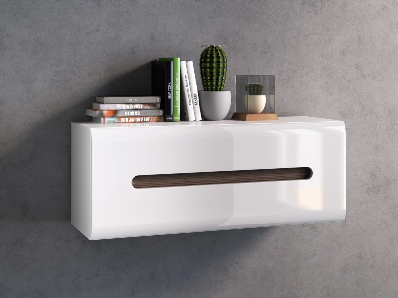 White High Gloss Modern Wall Shelf Cabinet Storage Unit with White Gloss/Wenge Dark Wood Effect/Black Gloss Inserts - Azteca Trio (S504-SFW1K/4/11-BI/BIP-KPL01)