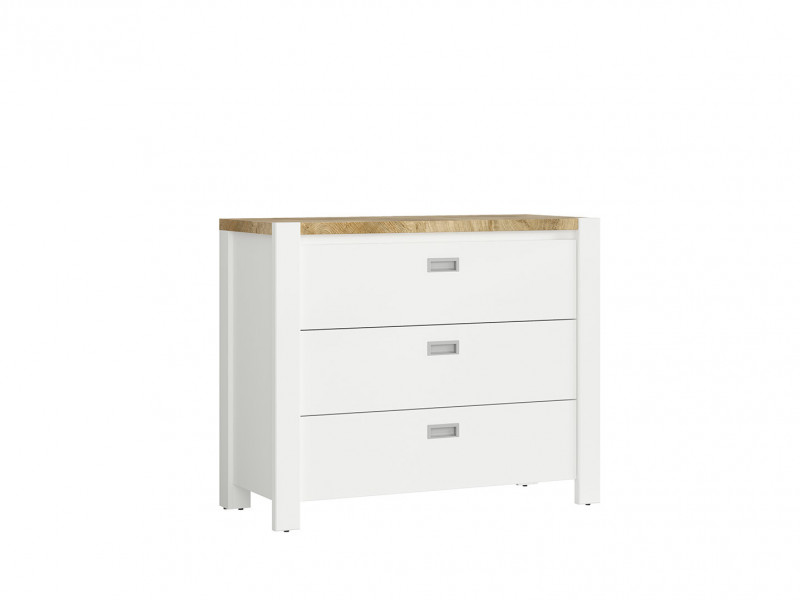 Country Cottage Chest of Drawers Nursery Storage Unit Dresser White/Oak - Dreviso Baby (S378-KOM3S-BI/DWM/BI)
