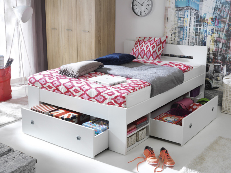 Double Bed Frame with Storage Shelving and Drawers Wenge, White or Sonoma Oak Finish- Nepo (S435-LOZ3S-BI+OPCJA-BI+WKL140/L16-BK)