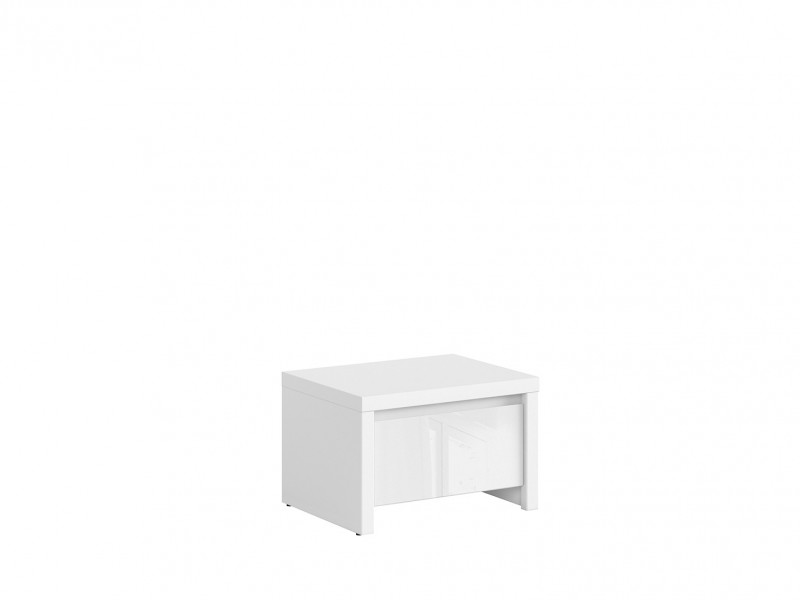 Bedside Table Side Cabinet White / White Gloss Kaspian