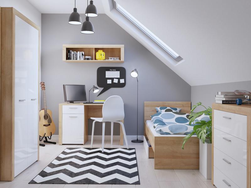 White Gloss & Oak Modern Childrens Single Bedroom Room 7-Piece Furniture Bed Desk Wardrobe Set - Balder (S382-BALDER/BEDROOM1)
