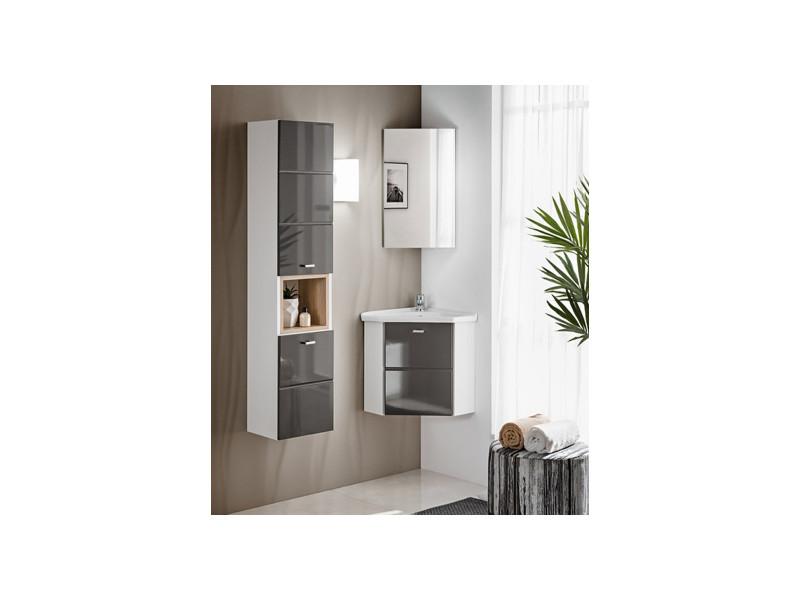 Bathroom Cabinet Corner Vanity Set Wall Mounted with sink grey gloss - Finka (FINKA_824_SET_GREY)